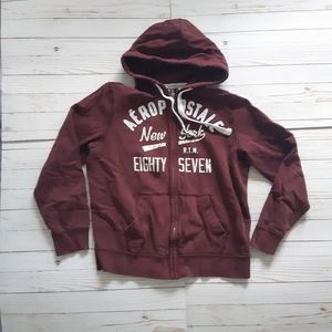 AEROPOSTALE Mens Burgundy Full Zip Sweater Hoodie